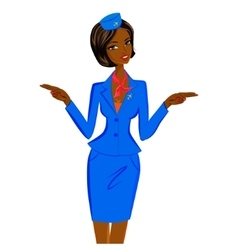 African flight attendant showing emergency exits vector