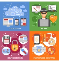 Network security 2x2 design concept vector