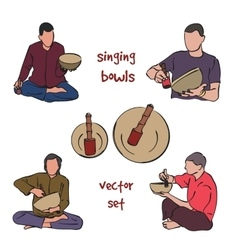 Singing bowls musician set vector