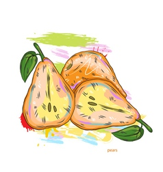 Pears with colorful splashes vector