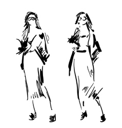 Fashion girl sketch hand drawn model vector
