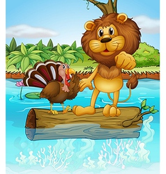 A lion and a turkey above a floating trunk vector image vector image