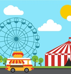Amusement theme park flat design vector image