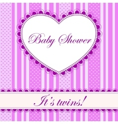 Baby shower with heart banner twins vector image vector image