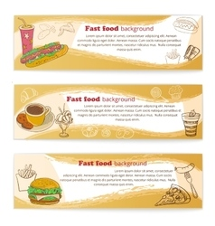 Banner set of vintage fast food backgrounds vector