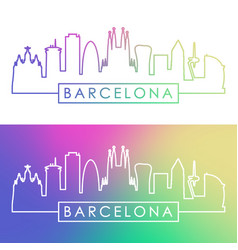 Barcelona skyline colorful linear style editable vector