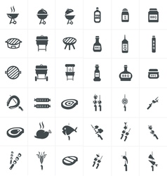 black barbecue icons set on gray vector image