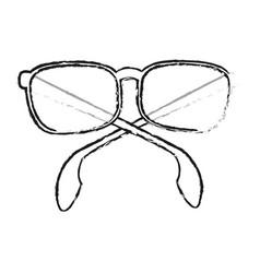 Black blurred silhouette cartoon fashion glasses vector