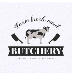 Butcher Shop Logo Meat Label Template with Cow vector image