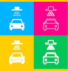 Car wash sign four styles of icon on four color vector