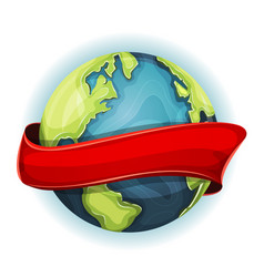 Earth planet with ribbon vector