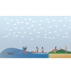 Extreme water sports outdoor games concept vector