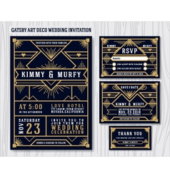 Gatsby art deco wedding invitation design vector
