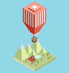 isometric air balloon vector image vector image