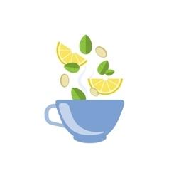 Lemon Tea In Blue Cup vector image