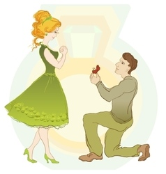 Marriage Proposal Man Give Ring To His Girl vector image