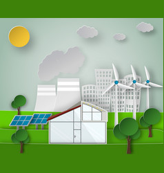 paper art of a renewable green vector image