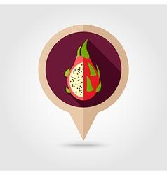 Pitaya flat pin map icon Tropical dragon fruit vector image