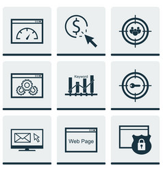 Set of 9 marketing icons includes security focus vector