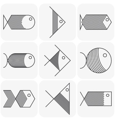 Set of black fish icons on white background vector image