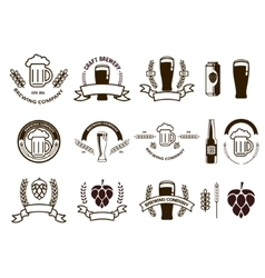 Set of craft beer emblems and logo templates vector