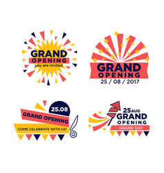Set of grand opening announcements vector
