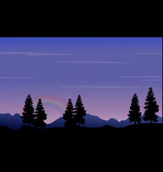 silhouette of hill and tree at night vector image vector image