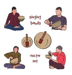 Singing bowls musician set vector
