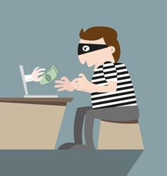 Thief stealing money by computer online vector
