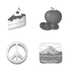 Vegetable products and other monochrome icon in vector