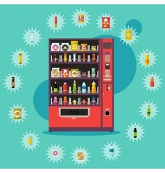 Vending machine with product items vector