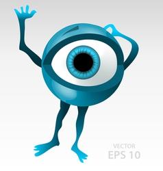 Warning anxious blue eyeball character vector