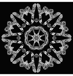 White handdrawn round pattern on black vector