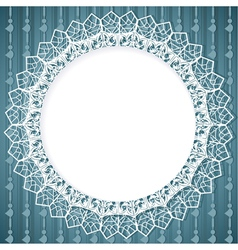White lace doily on blue background vector