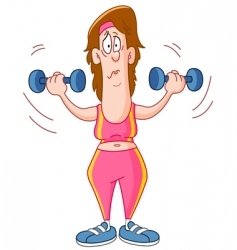 woman lifting dumbbells vector image