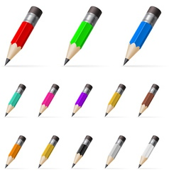 Rows of standing color pencils vector