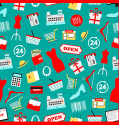 shopping seamless pattern of clothing icons vector image