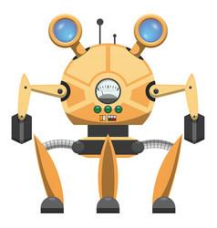 Yellow metallic robot with three legs drawn icon vector