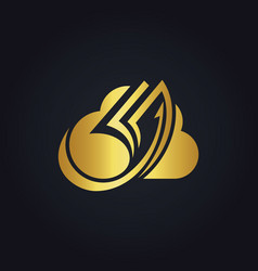 Cloud data paper gold logo vector