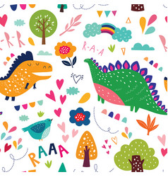 Dinosaurs in nature vector