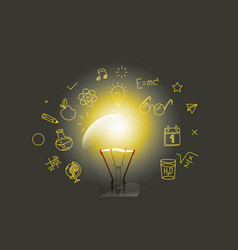 Bright lightbulb with media doodle icons vector