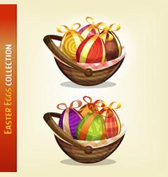 Easter eggs inside baskets vector