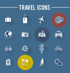 Modern travel flat icons collection with long shad vector