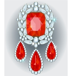 Diamond brooch vector