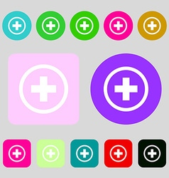Plus positive zoom icon sign 12 colored buttons vector