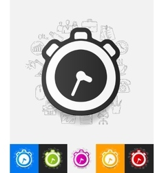 Watch paper sticker with hand drawn elements vector
