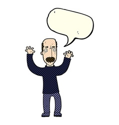 Cartoon angry dad with speech bubble vector