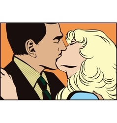 People in retro style pop art kissing couple vector