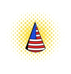 Party hat in the usa flag colors icon comics style vector