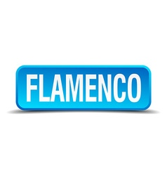 Flamenco blue 3d realistic square isolated button vector